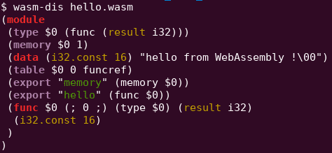 basic helloworld wasm webassembly module
