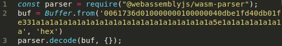 wasm npm parser crash reproducer webassembly fuzzing